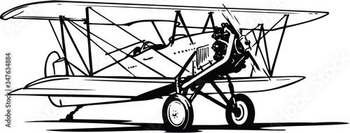 Biplane Vector Illustration Wallpaper Mural