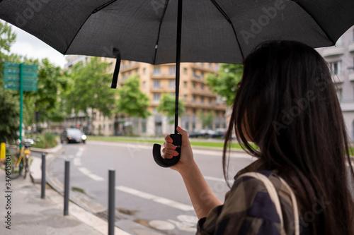 Cuadros en Lienzo Une femme de dos qui tient son parapluie dans une rue de la ville de Grenoble