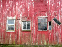 Low Angle View Of Old Red Barn