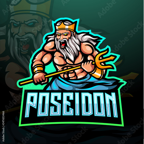 Valokuva The lord of poseidon esport logo mascot design