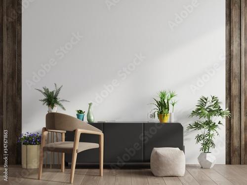 Obraz Modern living room interior armchair ,TV on cabinet in modern living room. - fototapety do salonu