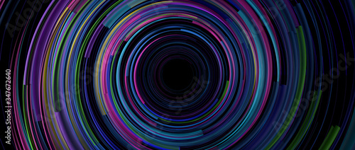 Obraz Background of light lines of blue, green, yellow and purple color rotating in circles on a black background forming a tunnel. 3D Illustration - fototapety do salonu