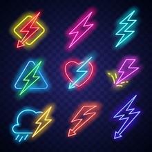 Neon Lighting Bolt. Vector Arr...