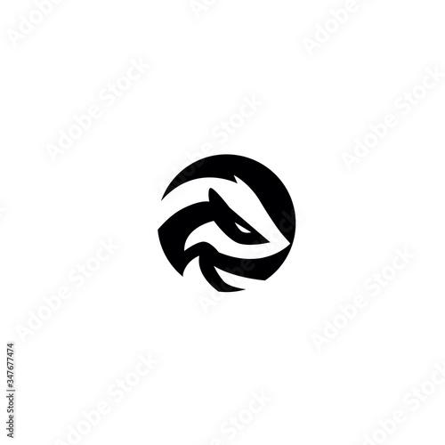 negative space badger logo design vector Canvas Print