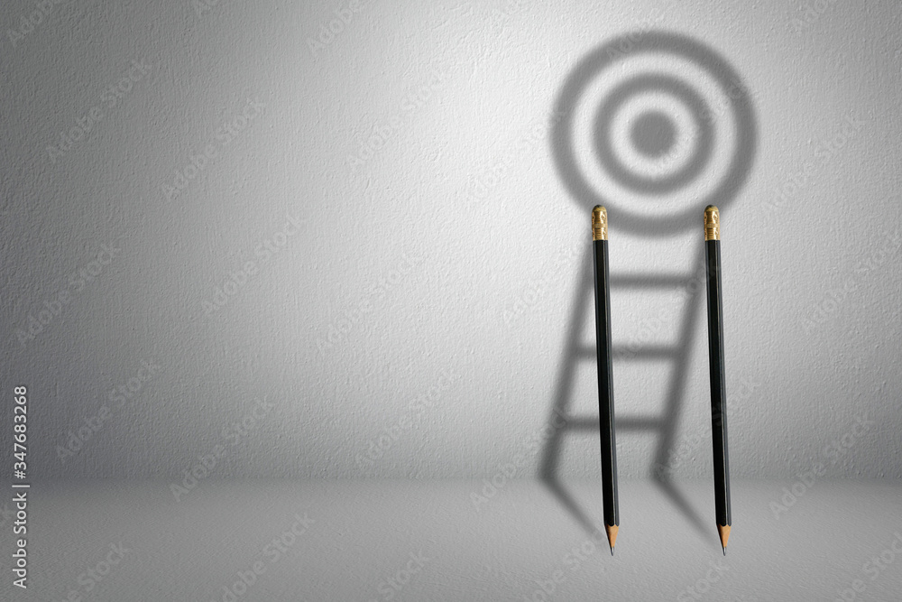 Fototapeta Longest shadow ladder stairs growing up growth to aiming high to goal target with pencil for effort and challenge in business to be achievement and successful concept