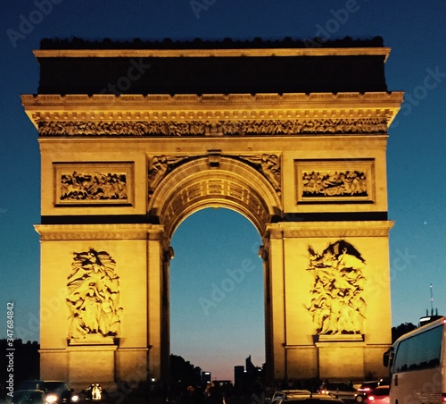 Low Angle View Of Arc De Triomphe At Dusk Canvas Print