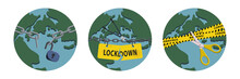 Concepts Of Open Lockdown After Pandemic Outbreak. Broken Yellow Tape And Chain Over Planet. Stock Vector Illustration.