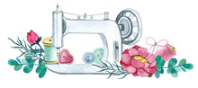 Watercolor Sewing Machine, Nee...