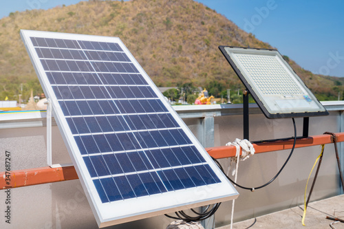 Fotografie, Obraz Solar panels generator the industry of modern energy, Ecologically clean sources