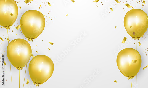 Celebration party banner with Gold balloons background Fotobehang