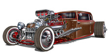 Vintage Hot Rod Car Isolated O...