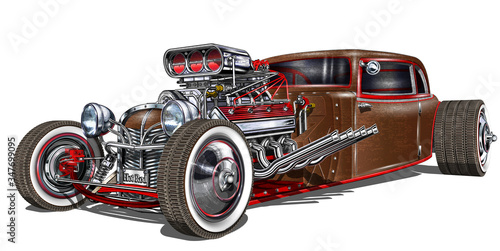Vintage Hot Rod car isolated on white background. Wallpaper Mural