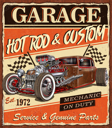 Vintage Hot Rod garage poster. Wallpaper Mural