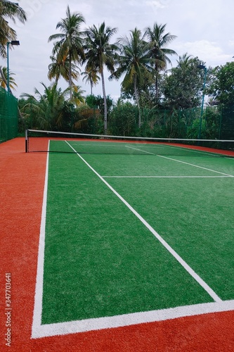 A beautiful shot of a tennis court surrounded by tropical greenery in the Maldives