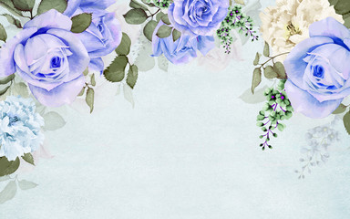 Fototapeta Róże 3d illustration in pastel colors, blue background, large blue roses