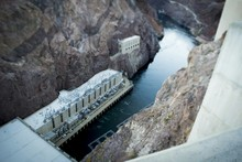 High Angle View Of Colorado River Seen From Hoover Dam