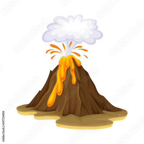 Fototapeta Volcanic Eruption with Flowing Lava as Natural Cataclysm Vector Illustration obraz