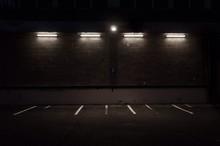 Illuminated Empty Parking Lot