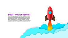 Vector Startup Infographic With Red Rocket And Clouds. Boost Your Business Illustration