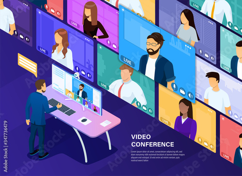 Fototapeta Video conferencing concept. Remote negotiations. Management of the company through video communication. Online communication of the company. Beautifully drawn people in the style of 3D isometric obraz na płótnie