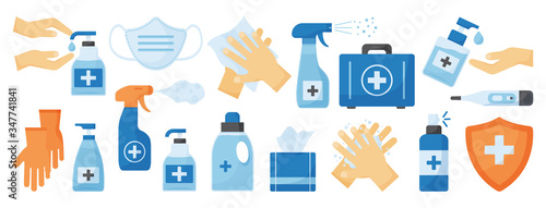 Obraz Disinfection. PPE icon. Hand hygiene. Set of hand sanitizer bottles, medical mask, washing gel, spray, wipes, liquid soap, gloves, first aid kit, thermometer. Personal protective equipment. Vector - fototapety do salonu
