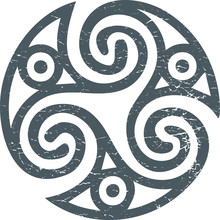 Celtic Gaelic Sacred Symbol Triskele Or Triskelion Isolated. Gaelic Pagan Triskeles Spiral Motif Vector Illustration.