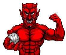 A Devil Satan Golf Sports Masc...