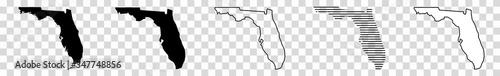 Florida Map Black   State Border   United States   US America   Transparent Isolated   Variations