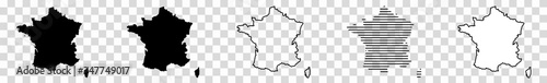 Fotografie, Obraz France Map Black | French Border | State Country | Transparent Isolated | Variat