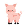 Cute pink pig with curly tail isolated on white background.