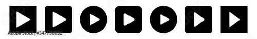 Fotomural Play Button Icon Black | Start Buttons Illustration | Video Audio Player Navigat