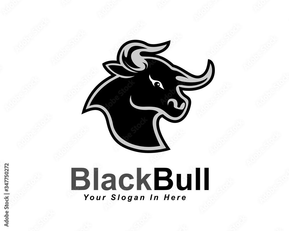 Fototapeta black head bull ox buffalo cow angry logo design inspiration
