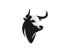 Drawing Art Black Elegant Head Bull Cow Ox Buffalo Logo Design Inspiration