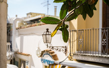 Famous Amalfi Lemons Grow In Above The Street Markts In Sunny Positano, Italy, Amalfi.