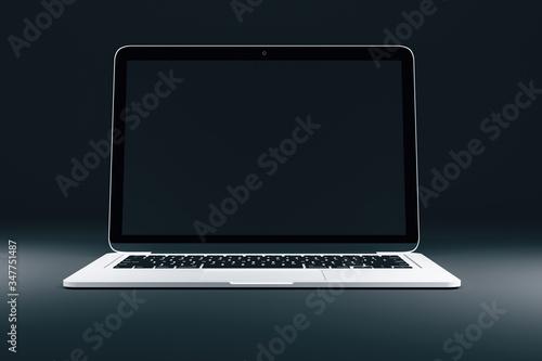 Empty black mock up screen of modern laptop Fototapeta