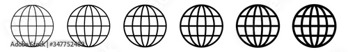 Obraz World Icon Black | Earth Illustration | Globe Symbol | Planet Logo | World Wide Web Sign | Isolated | Variations - fototapety do salonu