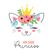 Cute Cat In Floral Wreath And ...