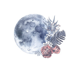Hand Drawn Card With Full Moon...