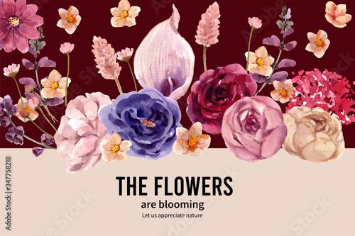 Floral wine frame design with Anthurium, allium bulbs, lisianthus watercolor illustration Wallpaper Mural