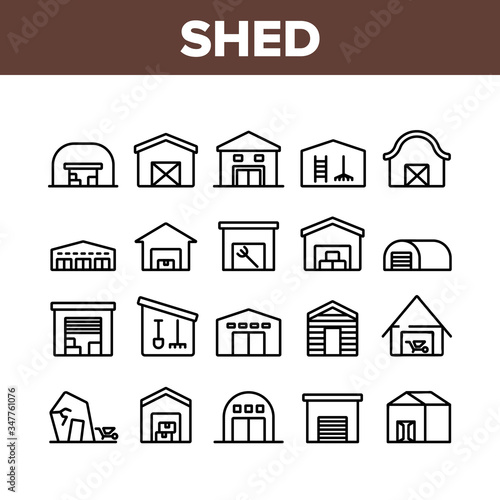 Fotografía Shed Construction Collection Icons Set Vector