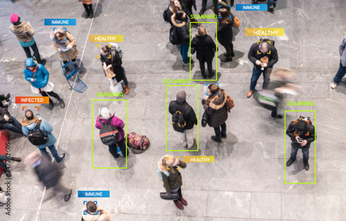 Obraz App scanning and tracking blurred people for Coronavirus prevention in city center - Software against Covid-19 outbreak - Big data, privacy, immune, healthy and infected concept - Defocused photo - fototapety do salonu