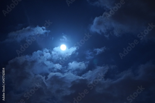 The moon night view with the round moon and clouds in the sky Wallpaper Mural