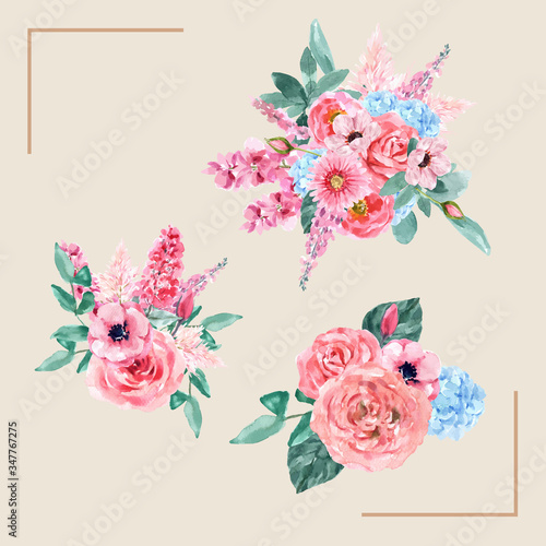 Fototapety, obrazy: Retro style floral charming bouquet design with vintage watercolor flower illustration.