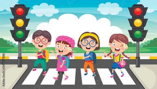 Obraz na plátne Traffic Concept With Funny Characters
