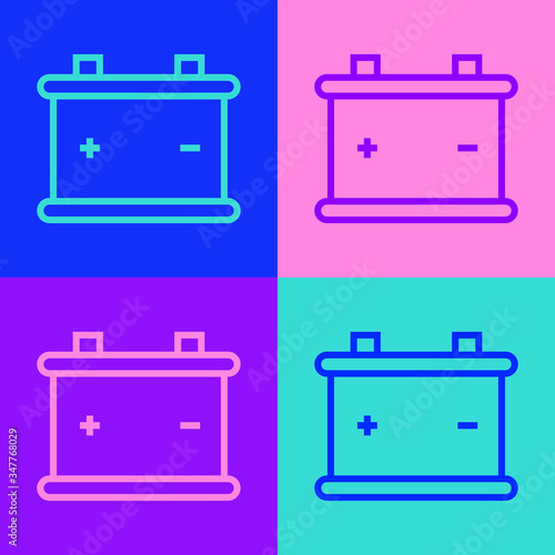 Pop art line Car battery icon isolated on color background Canvas Print
