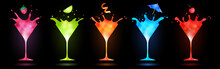 Colorful Cocktails In Martini ...