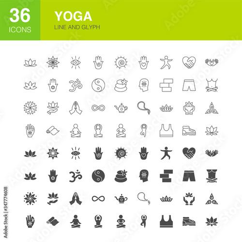 Photo Yoga Line Web Glyph Icons