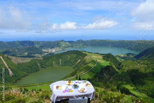 Dining at high altitude with a beautiful view Canvas Print