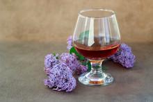 Glass Cognac Spring Flowers