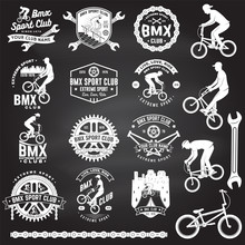 Set Of Bmx Extreme Sport Club Badge. Vector. Concept For Logo, Print, Stamp, Tee With Man Ride On A Sport Bicycle. Vintage Typography Design With Bmx Cyclist, Bmx Sprocket And Chain Silhouette.